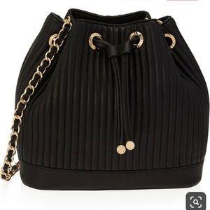 Henri Bendel No. 7 black leather bucket bag